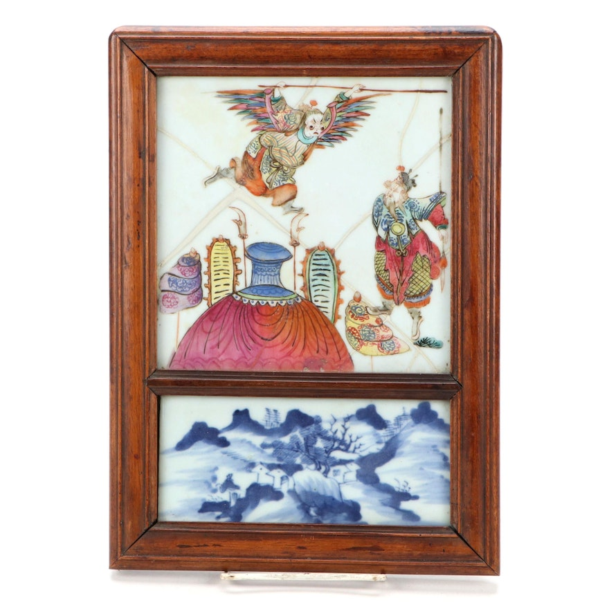 Framed Chinese Porcelain Tiles with Mirrored Back