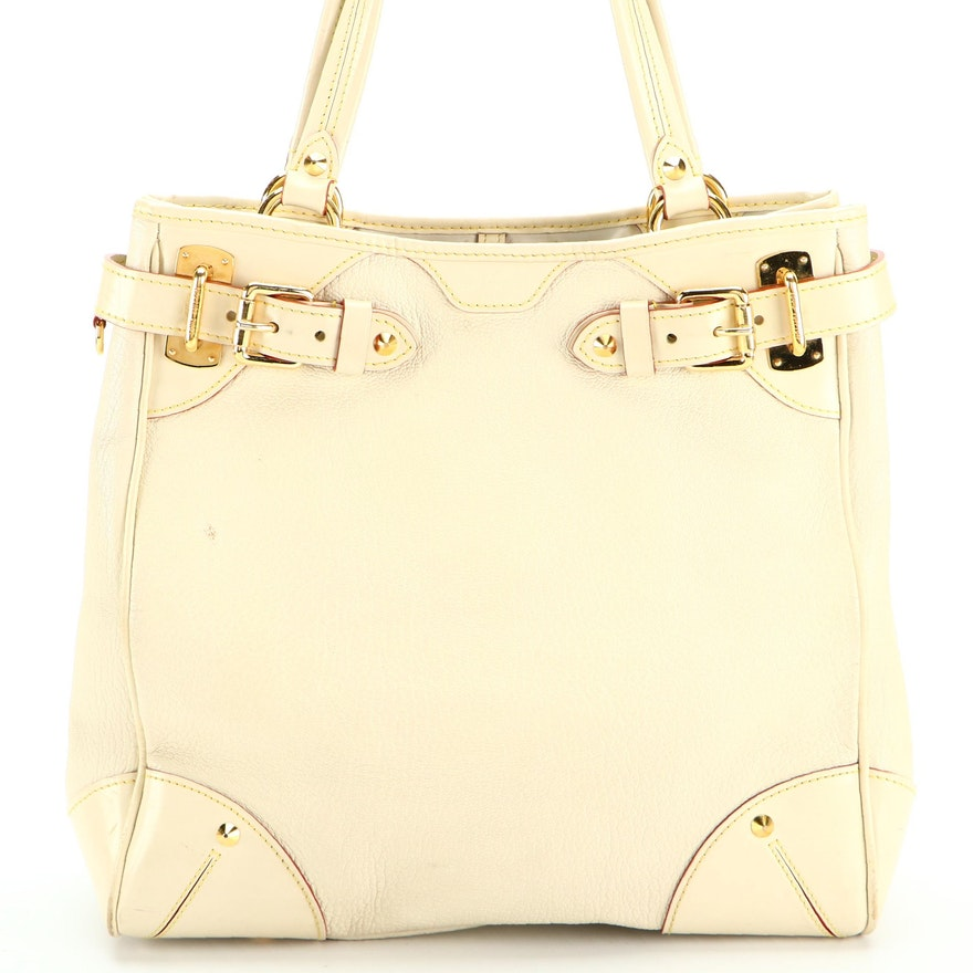 Louis Vuitton Le Majestueux Tote Bag in Off-White Suhali and Smooth Leather