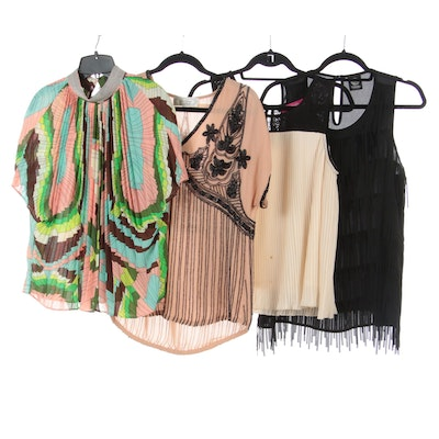 Bobeau Fringe Top, Gracia Pleated Print Top, Beyond Vintage Beaded Top and More