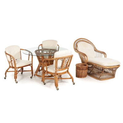 Bent Rattan and Wicker Patio Furniture, Mid to Late 20th Century
