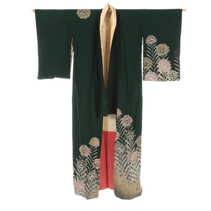 Green Floral Carnation Chirimen Hōmongi Kimono