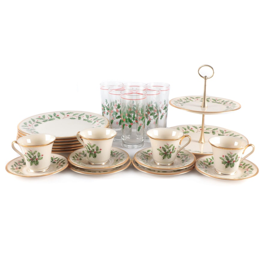 """Lenox """"Holiday"""" Porcelain Tableware and Glass Tumblers, Late 20th Century"""