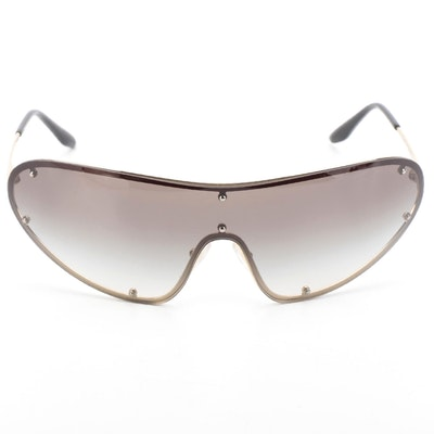 Prada SPR73V Pale Gold Metal Frame with Grey Gradient Lens Shield Sunglasses
