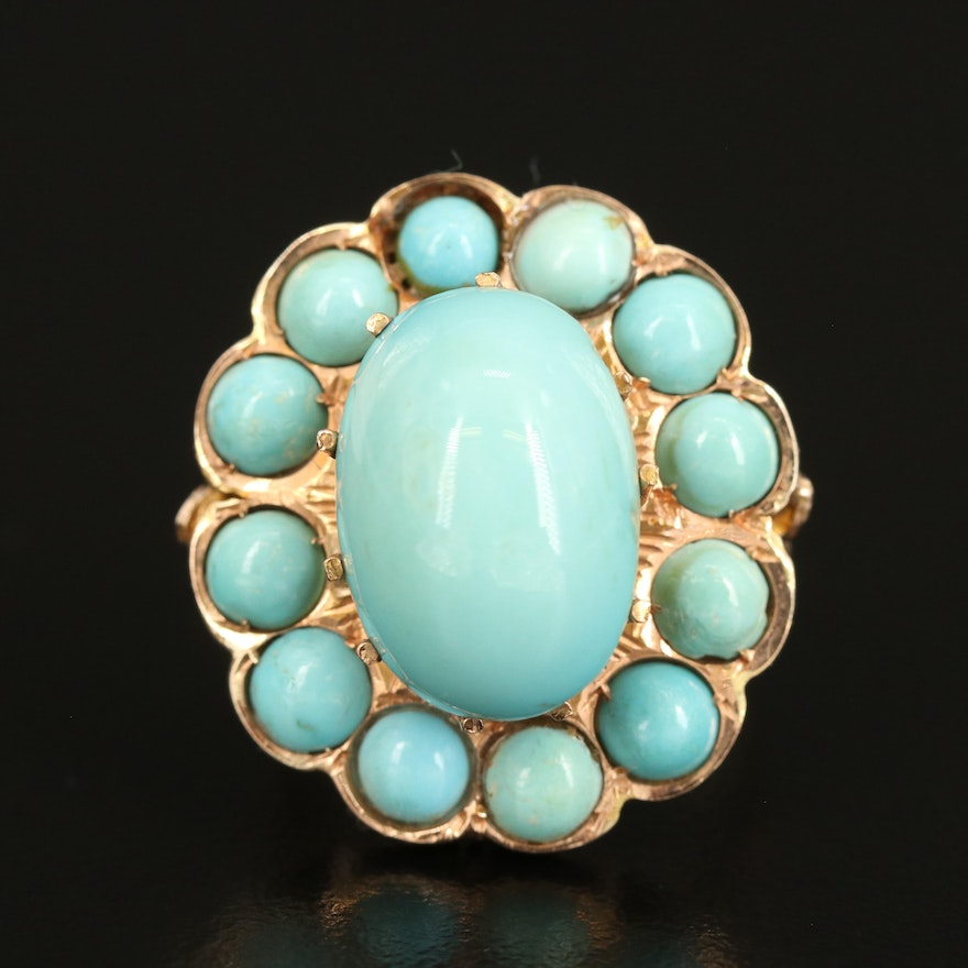 Vintage 14K Turquoise Ring with Openwork Gallery