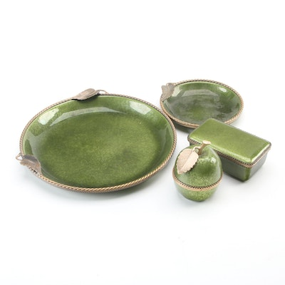 Evans Elegance Enameled Brass Plate Dishes, Table Lighter and Box
