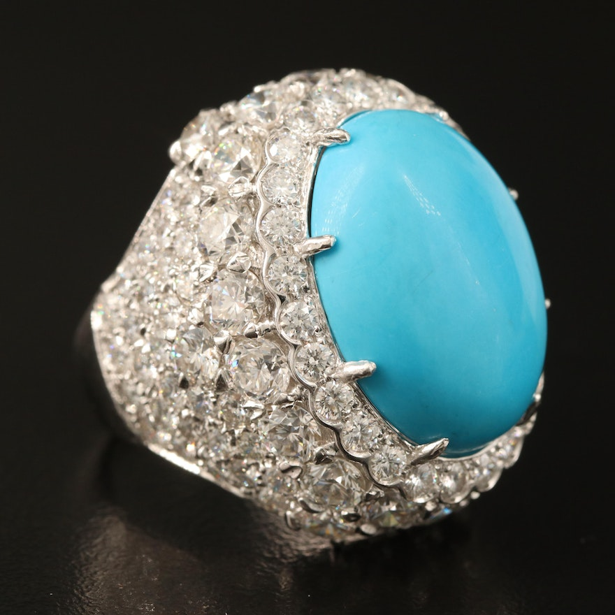 French 18K Turquoise Ring with 8.10 CTW Diamonds
