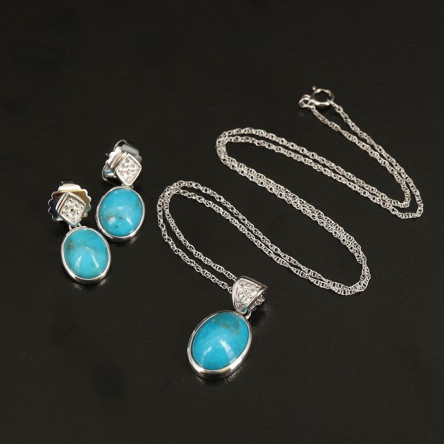 Sterling Turquoise and Topaz Earrings and Pendant Necklace Set
