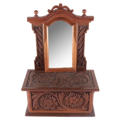 Folk Art Style Hand Carved Oak Dressing Mirror with Side Drawer