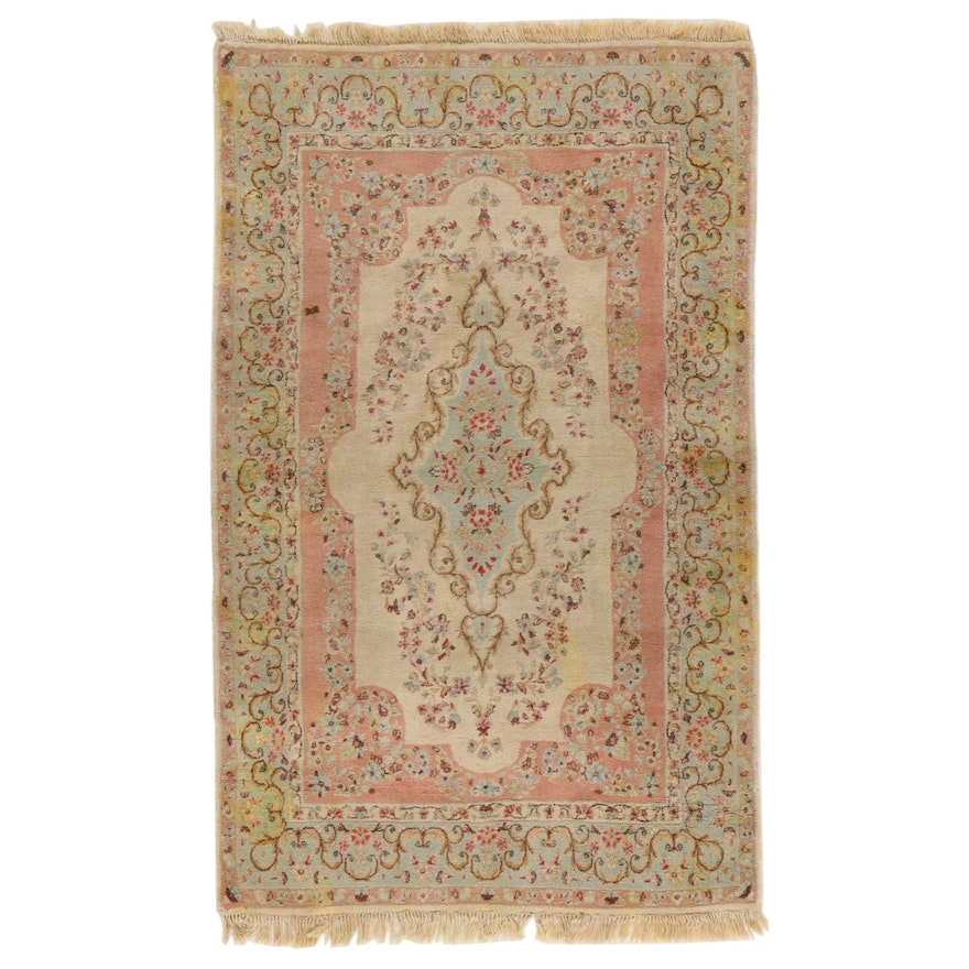 4'1 x 7' Hand-Knotted Persian Kerman Area Rug