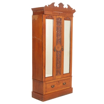 Edwardian Carved Fruitwood and Mirrored Armoire, Early 20th Century