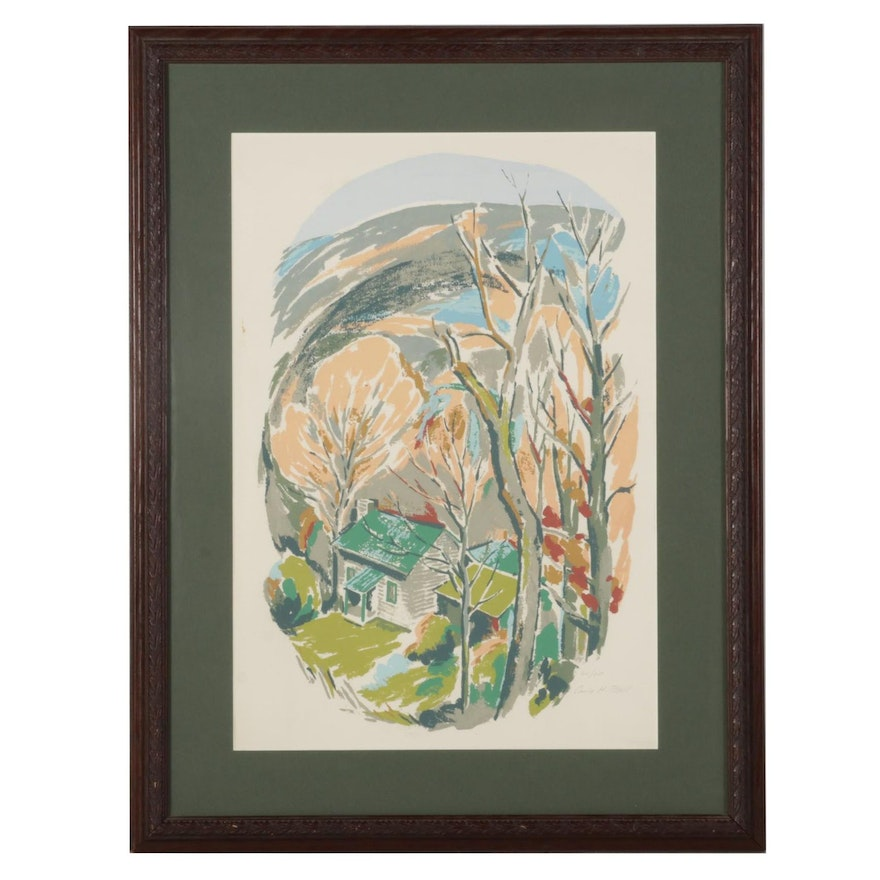 Carla H. Bell Serigraph of Autumn Forest Cabin, Late 20th Century