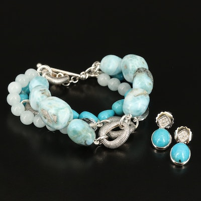 Sterling Earrings and Michael Dawkins Bracelet Including Larimar and Turquoise