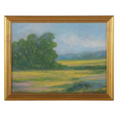 Sulmaz H. Radvand Bucolic Landscape Oil Painting, 2021