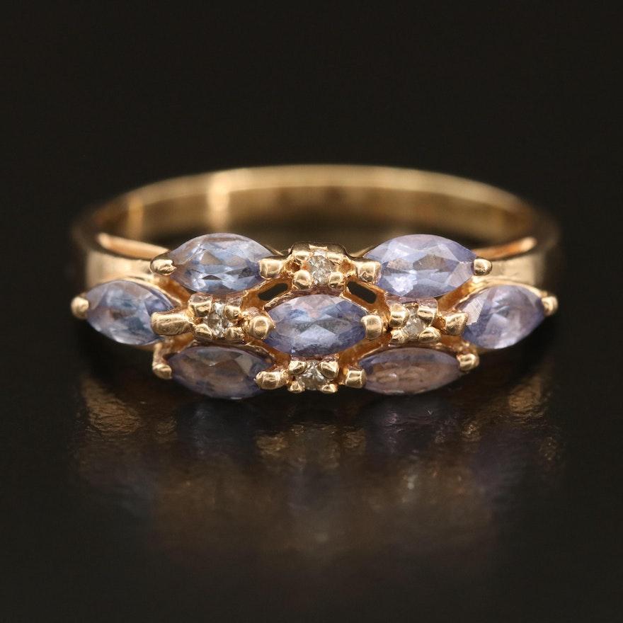 14K Tanzanite and Diamond Cluster Ring