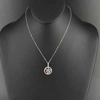 18K 1.08 CTW Diamond Circle Cluster Pendant