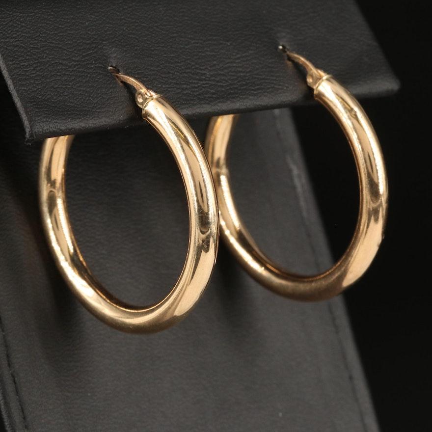 10K Cylindrical Hoop Earrings