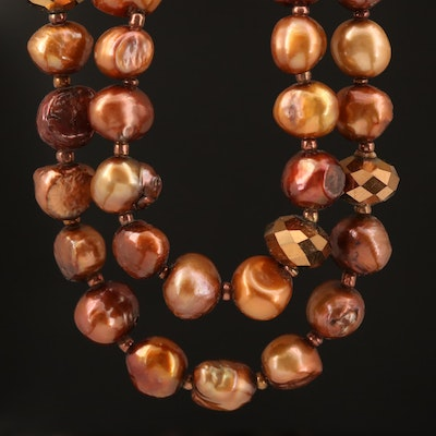 Pearl Necklace with Faceted Glass Accents
