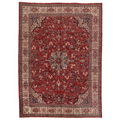 10'5 x 14'9 Hand-Knotted Persian Mashhad Room Sized Rug