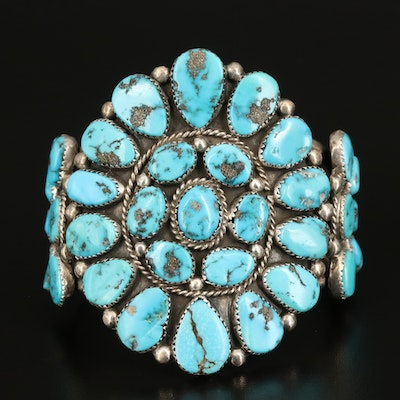 Roanhorse Family Navajo Diné Sterling Turquoise Cluster Cuff