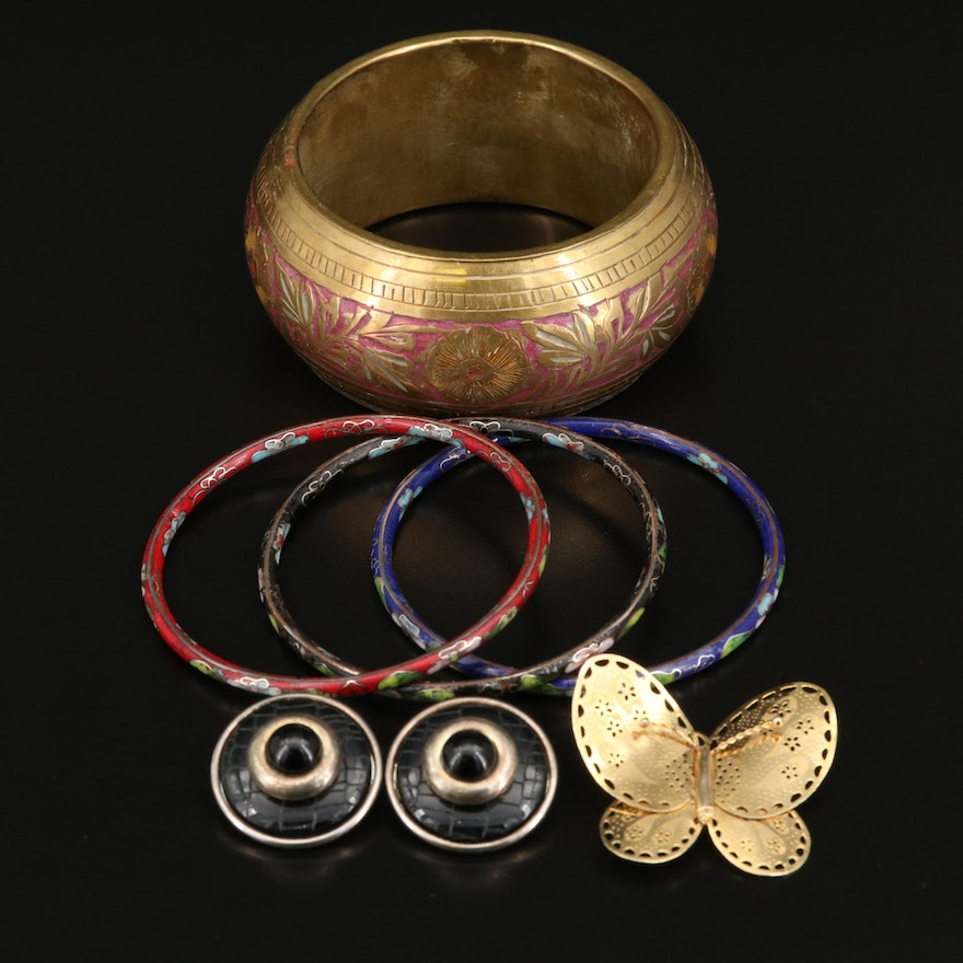 Jewelry Selection Featuring Cloissoné Bangles