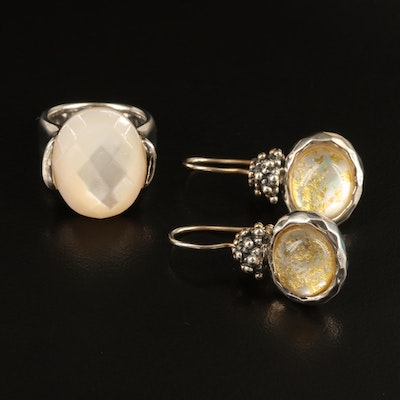 Michael Dawkins Rock Quartz Crystal and Mother of Pearl Triplet Ring and Earring