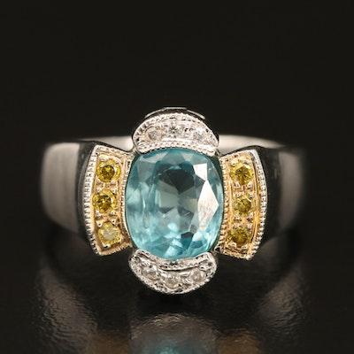 14K Sky Blue Topaz and Diamond Ring