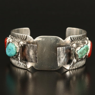 Southwestern Style Sterling Turquoise and Coral Watch Cuff