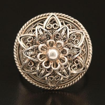 Sterling Floral Filigree Ring
