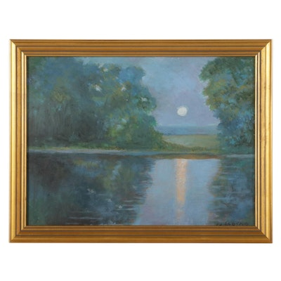 Sulmaz H. Radvand Moonlight Over Lake Oil Painting, 2021