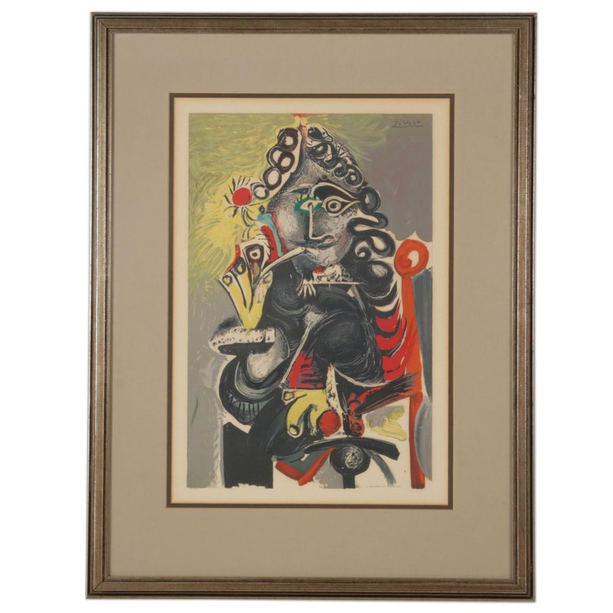 """Color Lithograph After Pablo Picasso """"Man With Pipe,"""" Circa 1968"""