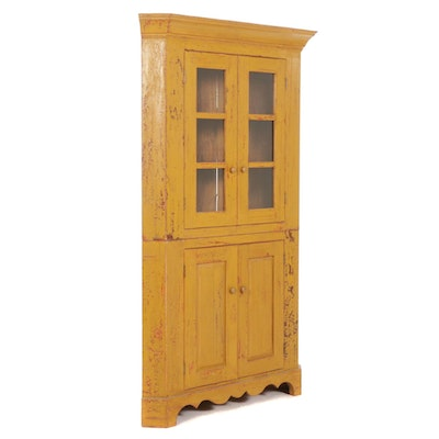 Reproduction of a 19th Century Painted Wood Corner Cupboard