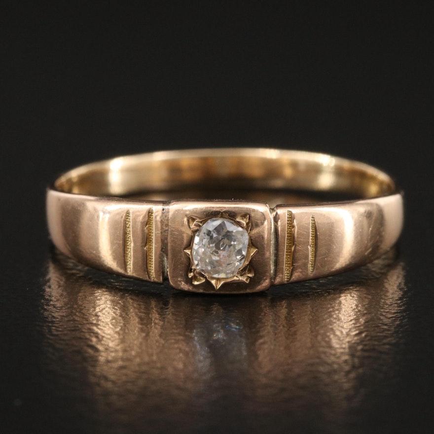 Victorian 14K Diamond Solitaire Ring