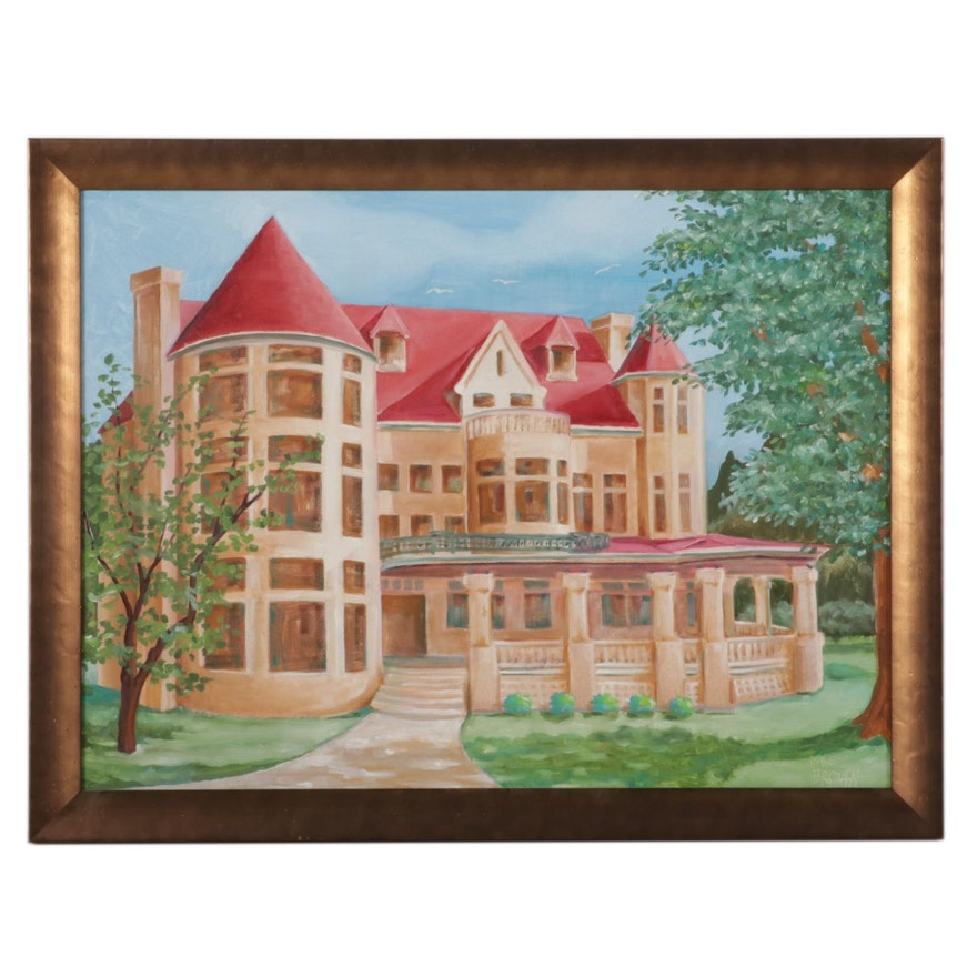 Dave Brown Oil Painting of New England Victorian Style House, 21st Century