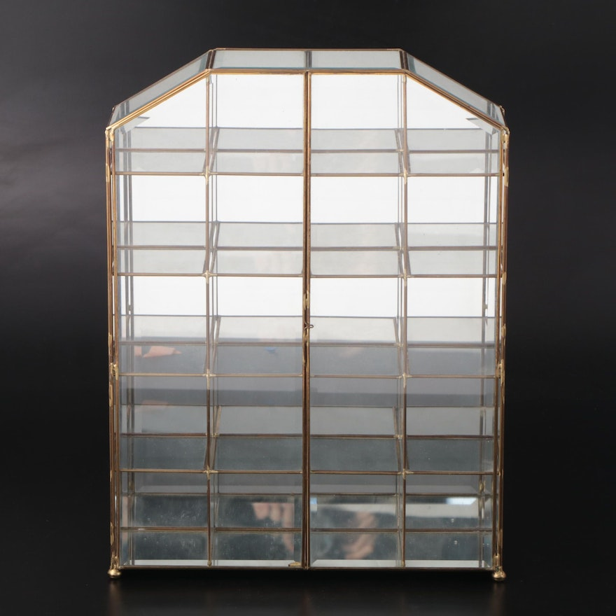 Beveled Glass and Brass Mirror Backed Table Top Curio Cabinet