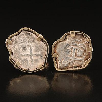 "14K Bezel Set Spanish ""Shipwreck"" 2-Reales Coin Cufflinks"