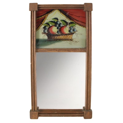 American Empire Reverse Painted Glass Panel Mirror, Early to Mid 19th Century