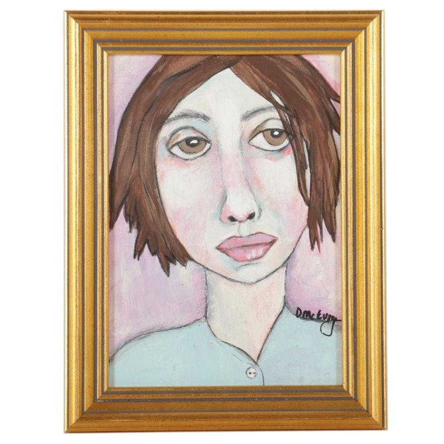 "Deborah McEvoy Acrylic Painting ""Her Challenge Was Trust,"" 21st Century"