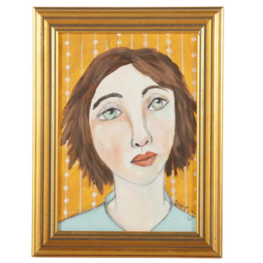 "Deborah McEvoy Folk Art Acrylic Painting ""Life Was a Challenge,"" 21st Century"