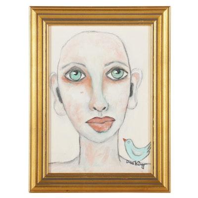 "Deborah McEvoy Acrylic Painting ""Cancer Sucks,"" 21st Century"