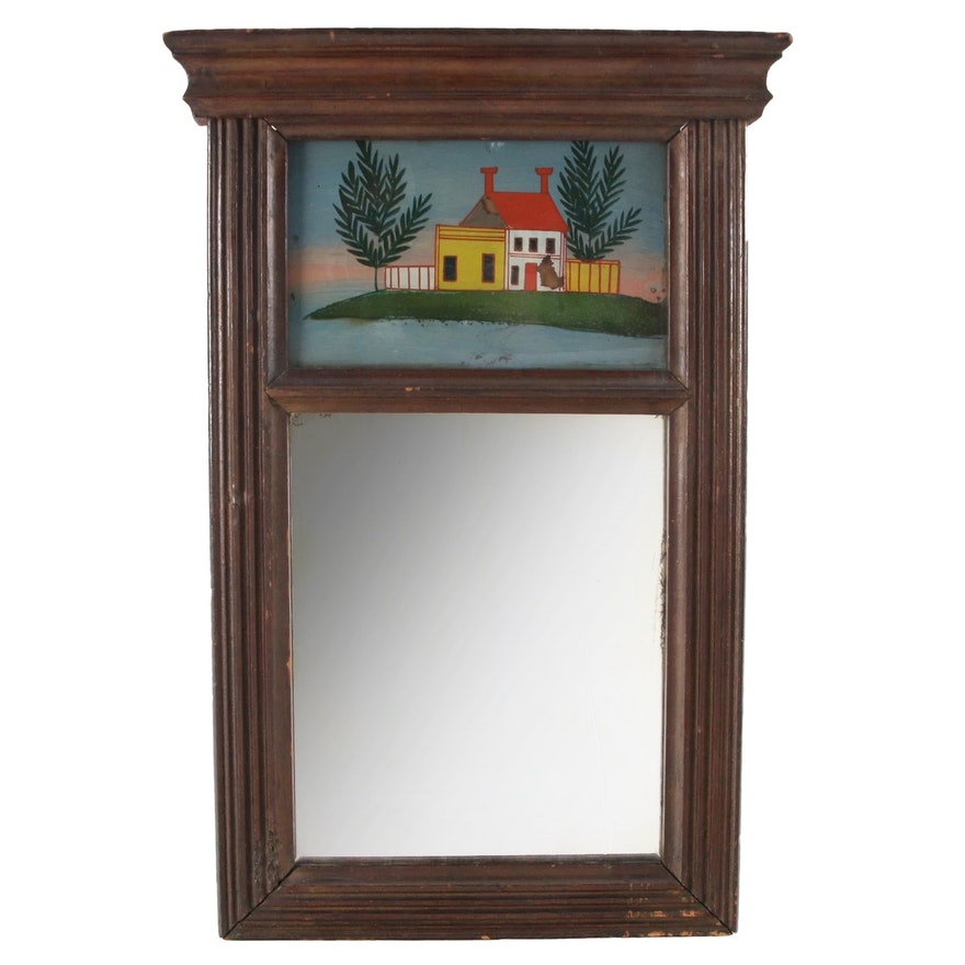 Federal Wooden Reverse Painted Glass Mirror, Early to Mid 19th Century