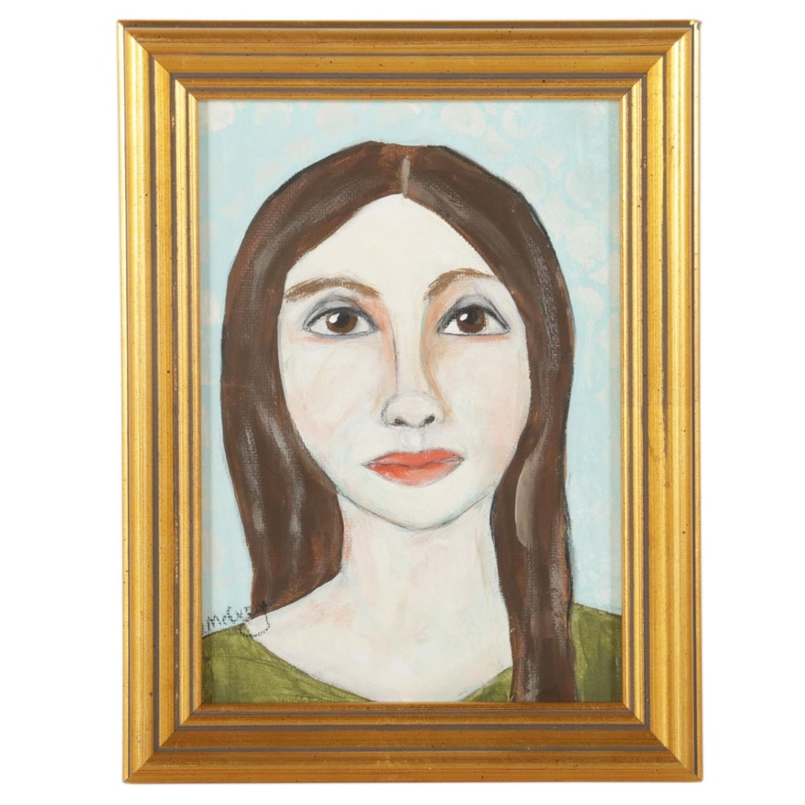 "Deborah McEvoy Acrylic Painting ""She Was Always a Princess,"" 21st Century"