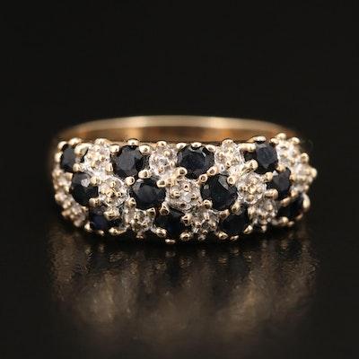 10K Sapphire and Diamond Multi-Row Ring