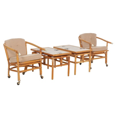 """John Wisner for Ficks Reed """"Far Horizons"""" Rattan Chairs and Side Tables"""