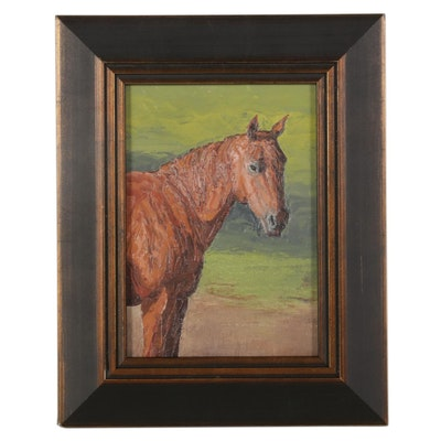 "L. Dennis Wilson Equestrian Oil Painting ""A Suspicious Eye,"" 21st Century"