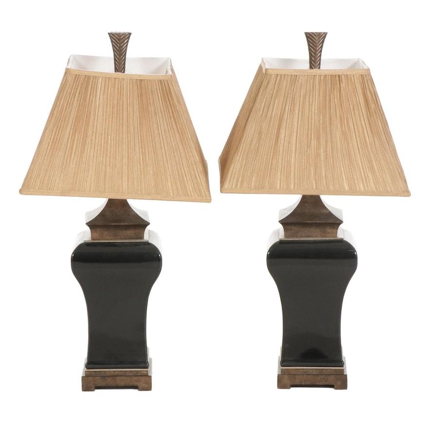 Pair of Black and Metallic Finish Ceramic Table Lamps