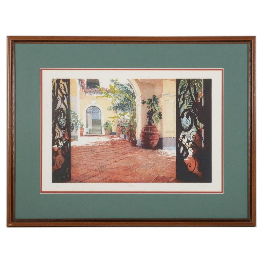 """Italian Courtyard Color Etching """"Positano,"""" Circa 2000"""