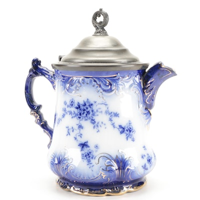 La Belle Pottery Flow Blue Ceramic Coffee Pot, Late 19th to Early 20th Century