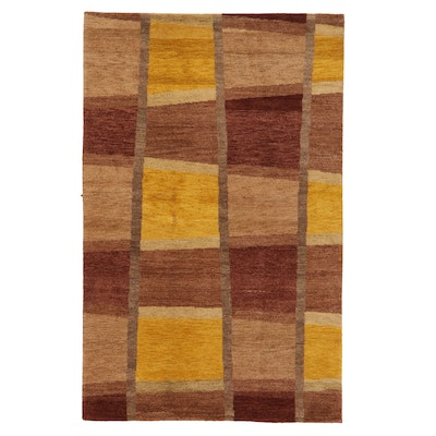 5'1 x 8'1 Hand-Knotted Indian Contemporary Area Rug