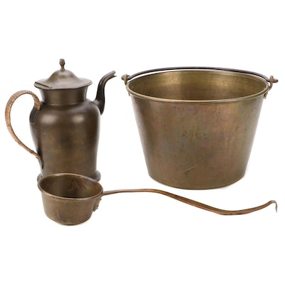 American Brass Kettle Mfr Apple Butter Kettle, and More, Late 19th/Early 20th C