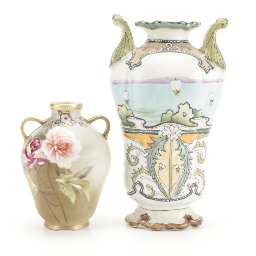 Nippon Morimura Bros. and Imperial Nippon Hand Painted Porcelain Vases